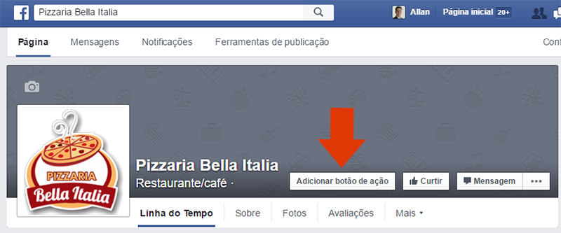 botao acao call-to-action pagina facebook