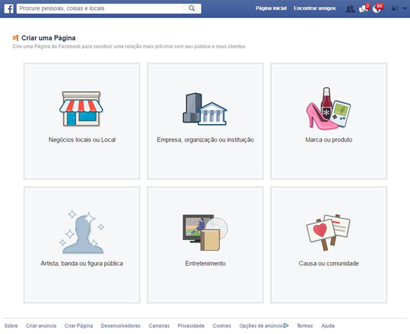 como criar pagina no facebook