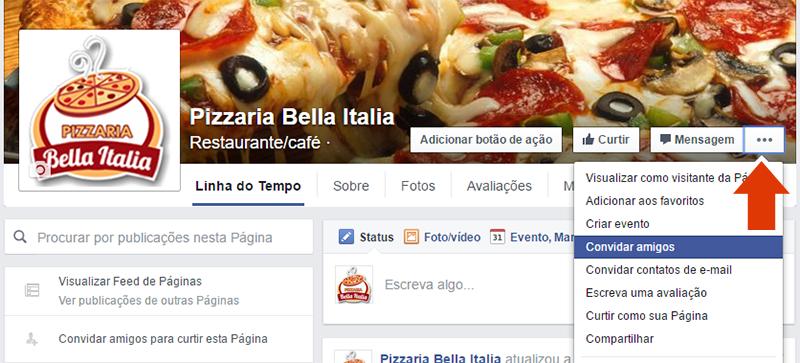 convidar amigos para curtir pagina facebook