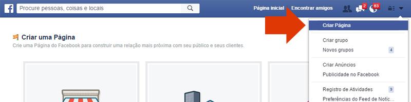 criar pagina facebook