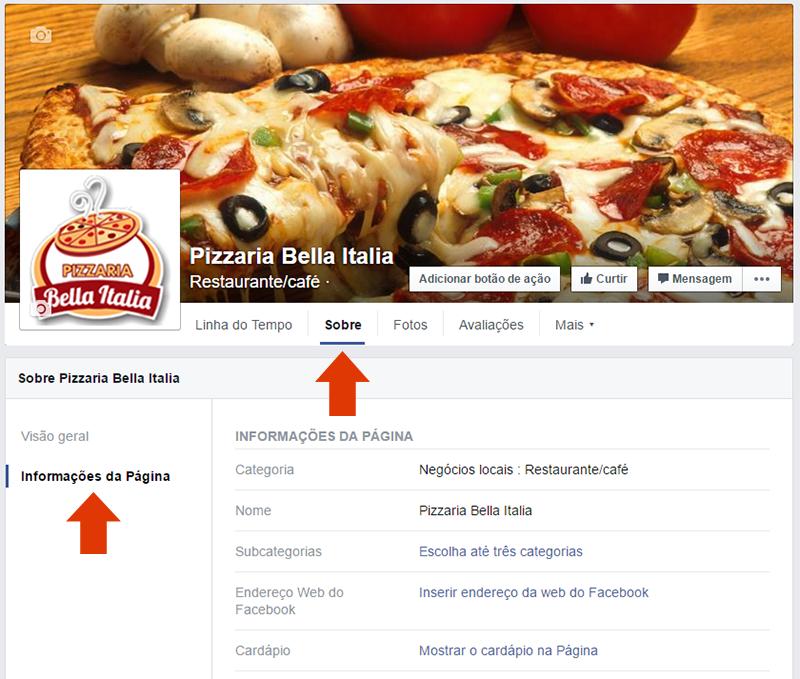 informacoes pagina negocio facebook