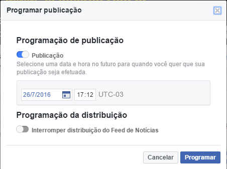 agendar publicacao facebook