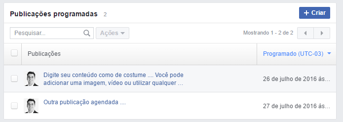 posts agendados pagina facebook
